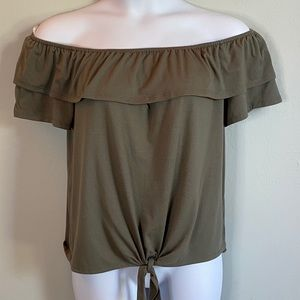 Green On or Off Shoulder Top with Front Tie XL